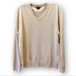 J Crew cashmere v-neck sweater oatmeal cream color L